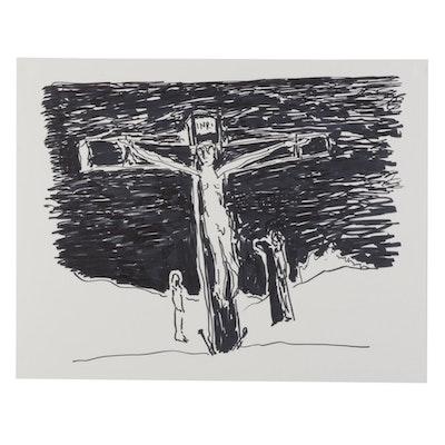 "Philip the Transplant Ink Drawing ""Golgotha,"" 2021"