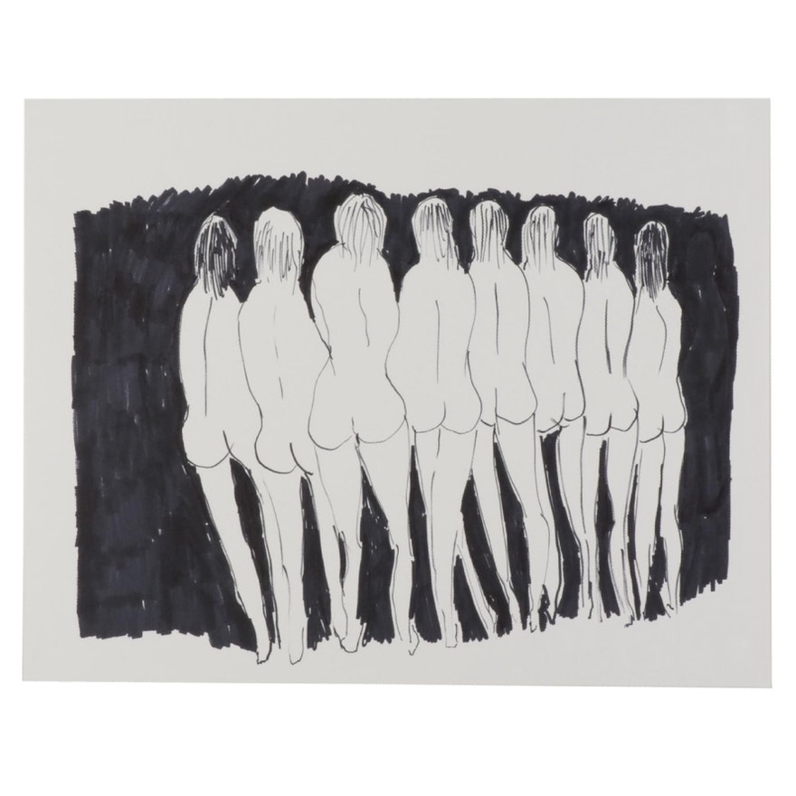 """Philip the Transplant Ink Drawing """"Eight Nudes,"""" 2021"""