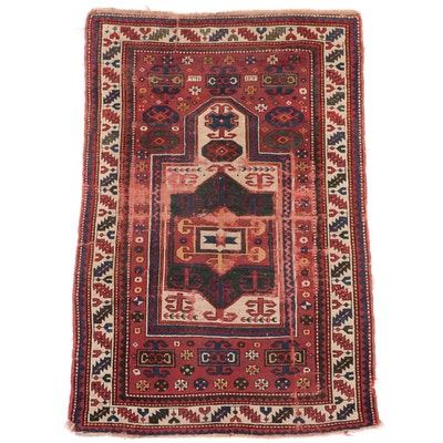 4' x 6'5 Hand-Knotted Caucasian Kazak Prayer Rug, Late 19th Century