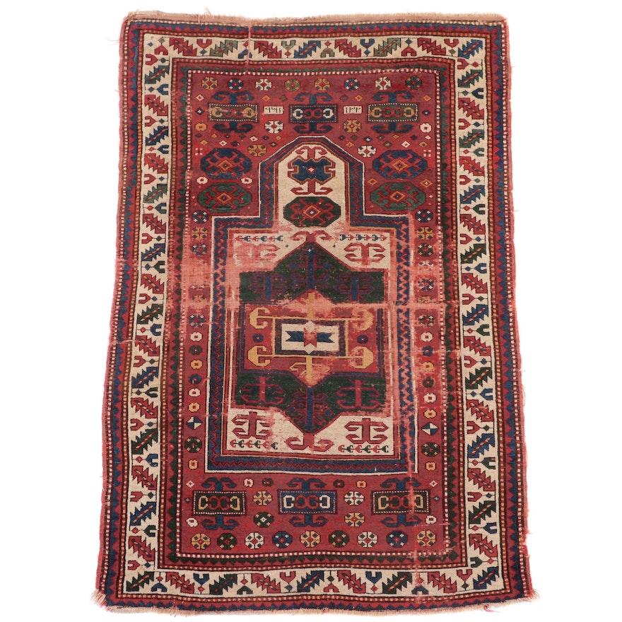 4' x 6'5 Hand-Knotted Caucasian Kazak Prayer Rug, Late 19th Century