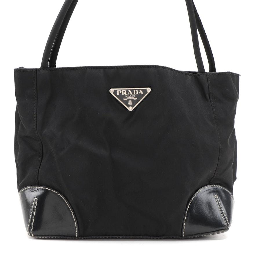 Prada Shoulder Bag in Black Tessuto Nylon and Leather