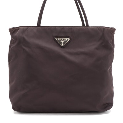 Prada Dark Brown Nylon Top Handle Bag