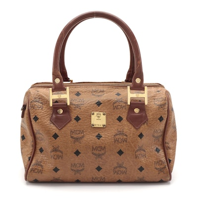 MCM Heritage Boston Satchel in Cognac Visetos Coated Canvas and Leather