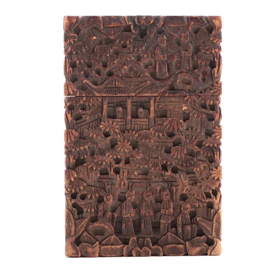 Chinese Canton Hand-Carved Wood Card Case, Early to Mid-20th Century