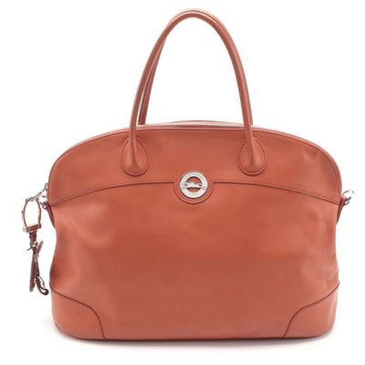 Longchamp Au Sultan Domed Satchel in Paprika Orange Leather