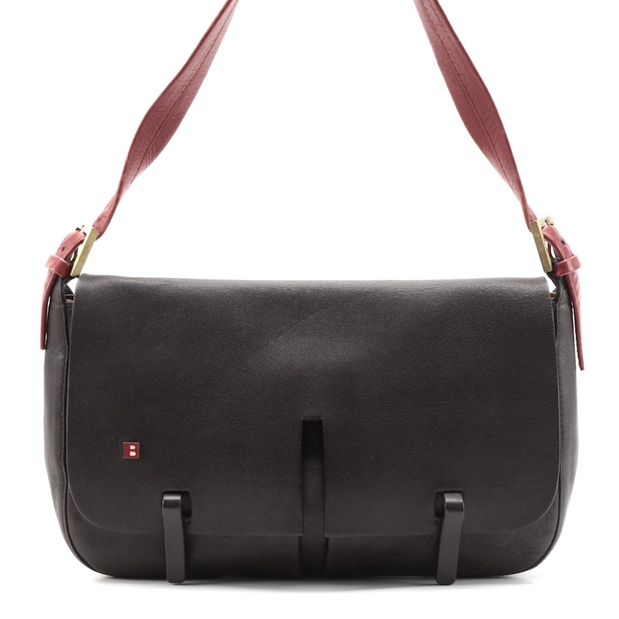 Bally Flap Front Shoulder Bag in Brown Leather with Red Leather Strap