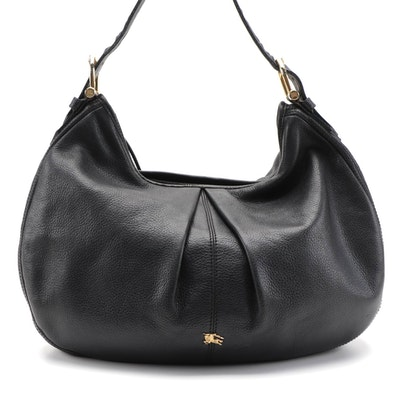 Burberry Pleat-Front Hobo Bag in Black Pebbled Leather