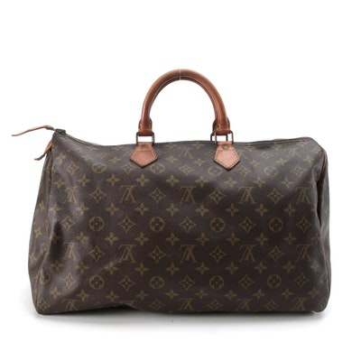 Louis Vuitton Speedy 40 Bag in Monogram Canvas with Leather Trim