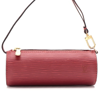 Louis Vuitton Soufflot Pochette Handbag in Castilian Red Epi and Smooth Leather