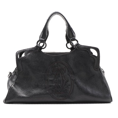 Cartier Marcello Medium Tote in Black Calfskin Leather