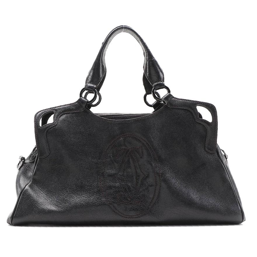 Cartier Marcello Medium Tote in Black Calfskin Leather