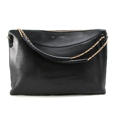 Céline Zip-Around Shoulder Bag in Black Leather with Chain Straps