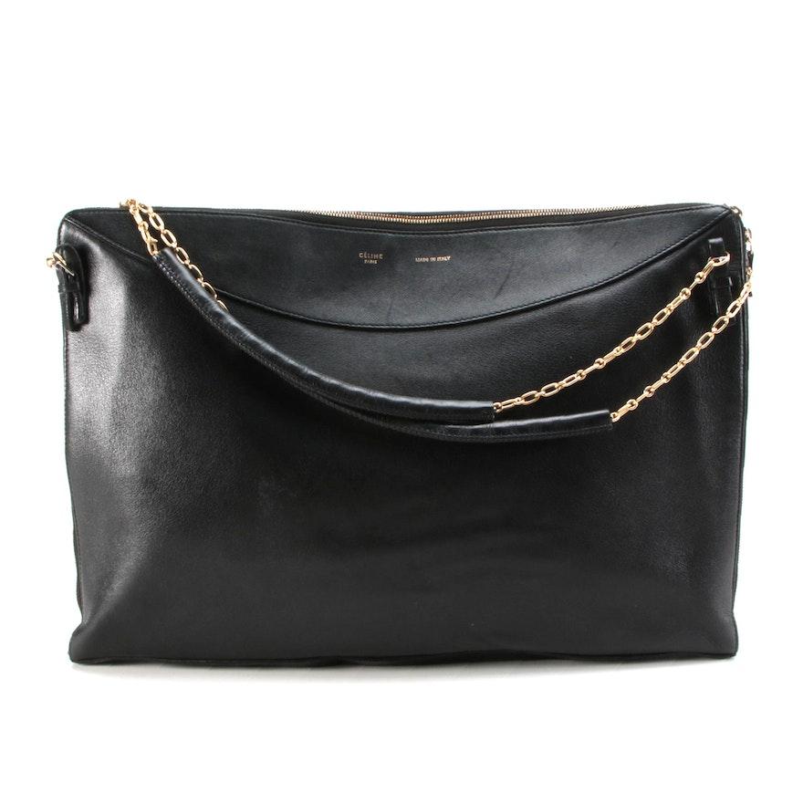 Céline Zip-Around Shoulder Bag in Black Leather with Chain Straps