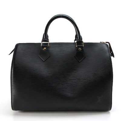 Louis Vuitton Speedy 30 Handbag in Black Epi and Smooth Leather