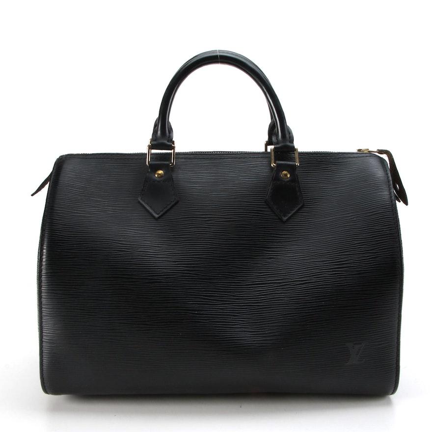 Louis Vuitton Speedy 30 Handbag in Black Epi and Smooth Leather