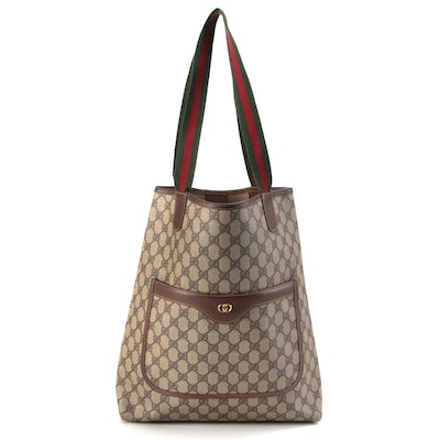 Gucci Web Stripe Shopping Tote in GG Supreme Canvas with Leather Trim
