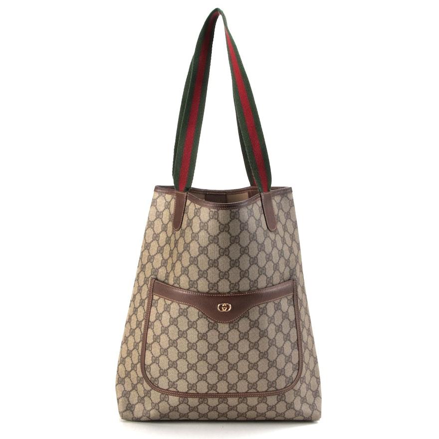 Gucci Web Stripe Shopping Tote in GG Supreme Canvas with Leather Trim