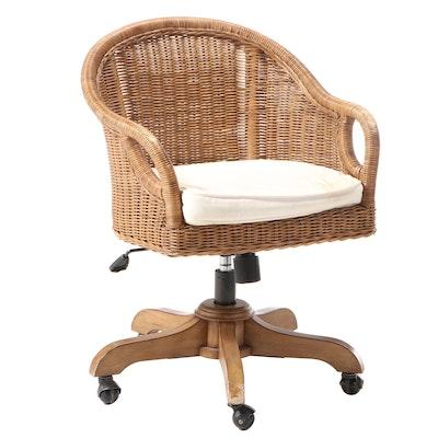 Outlook International Wicker Adjustable-Height Swivel Desk Chair