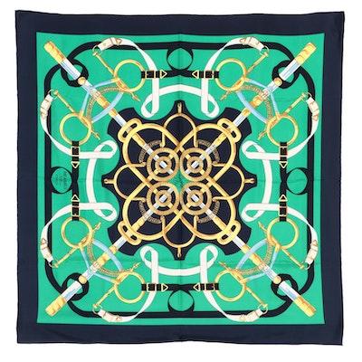 """Hermès """"Eperon d'Or"""" Silk Twill Scarf"""