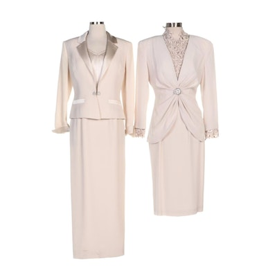 Daymor Couture Skirt Suit and Sunny Choi Dress Suit in Cream