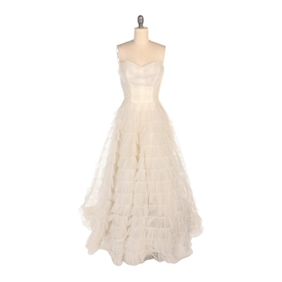 Cotillion Formals Strapless Tiered Ivory Tulle Evening Dress