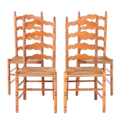 Tell City Maple Ladder Back Rush Seat Chairs, Mid to Late 20th Century