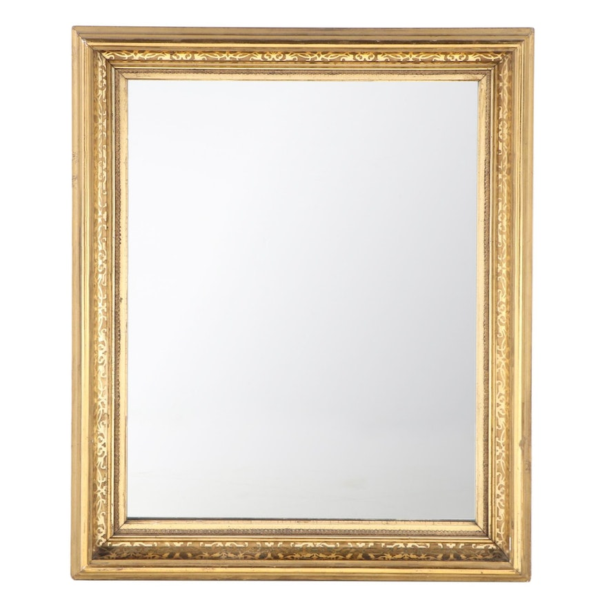 Patterned Giltwood and Composition Frame with Mirror, 19th Century and Later