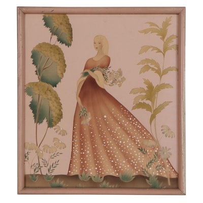 Bernard NYC Embellished Serigraph of a Woman with Flowers