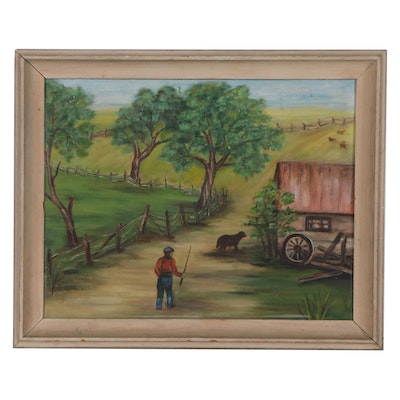Farmyard Landscape Oil Painting, Mid-20th Century