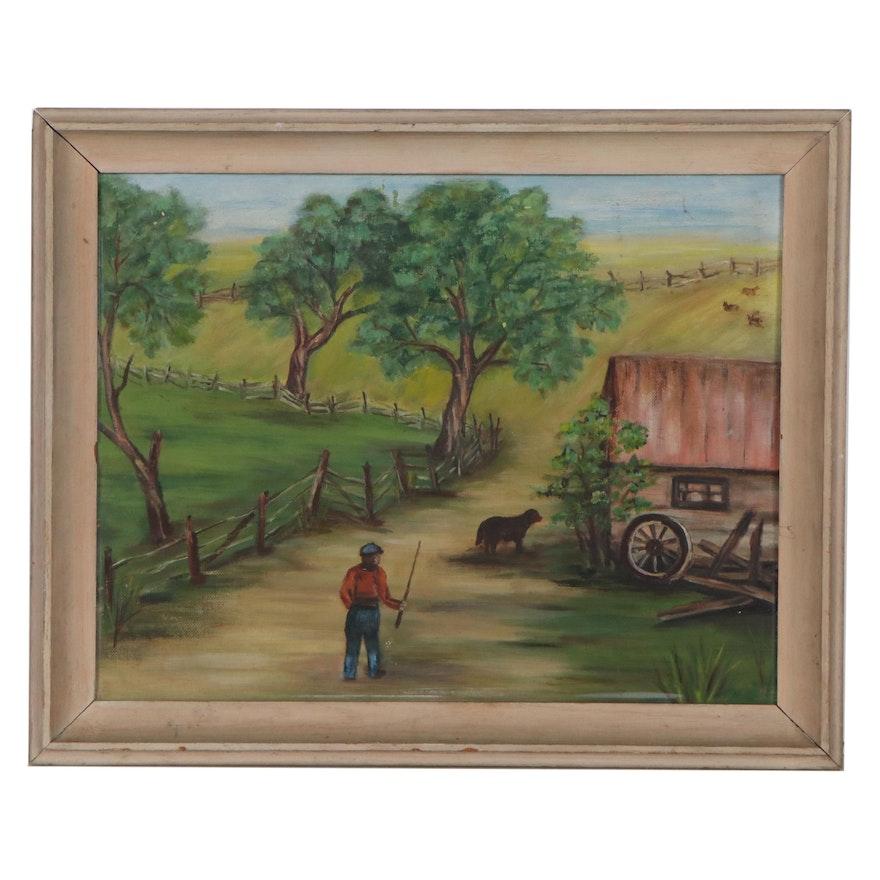 Farmyard Landscape Oil Painting, Mid-20th Century