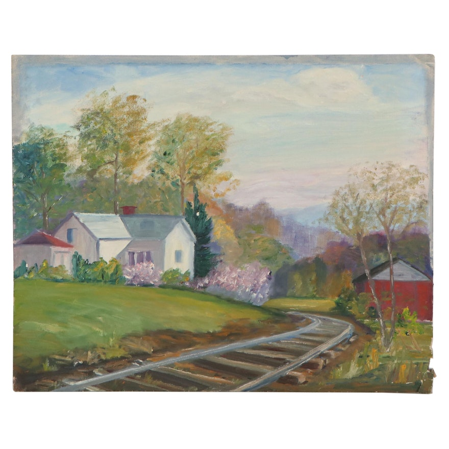 Oil Painting of Residential Landscape with Train Tracks
