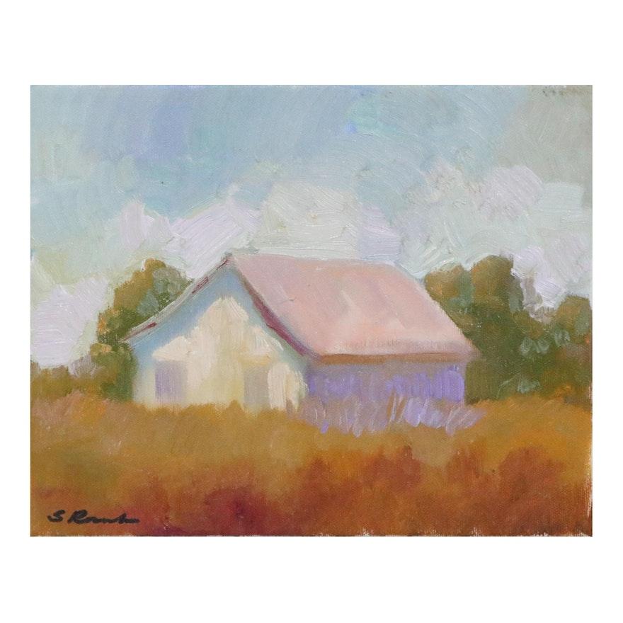 Sally Rosenbaum Farmhouse Oil Painting, 21st century