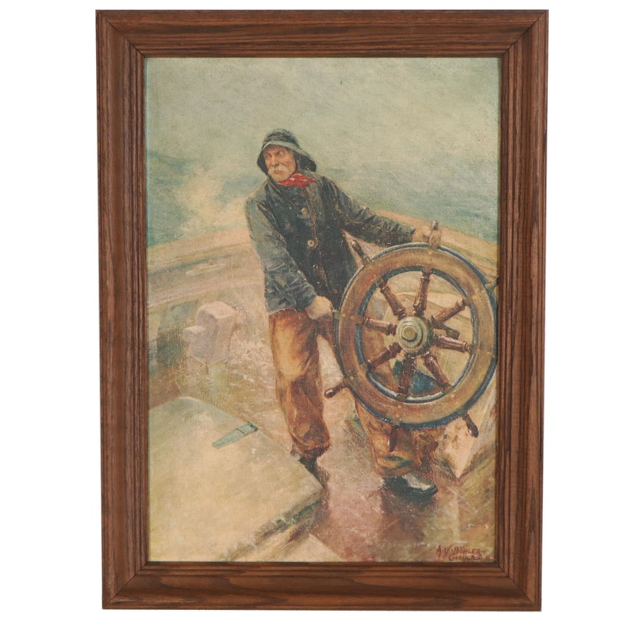 """Offset Lithograph after Augustus Bühler """"The Man at the Wheel"""""""
