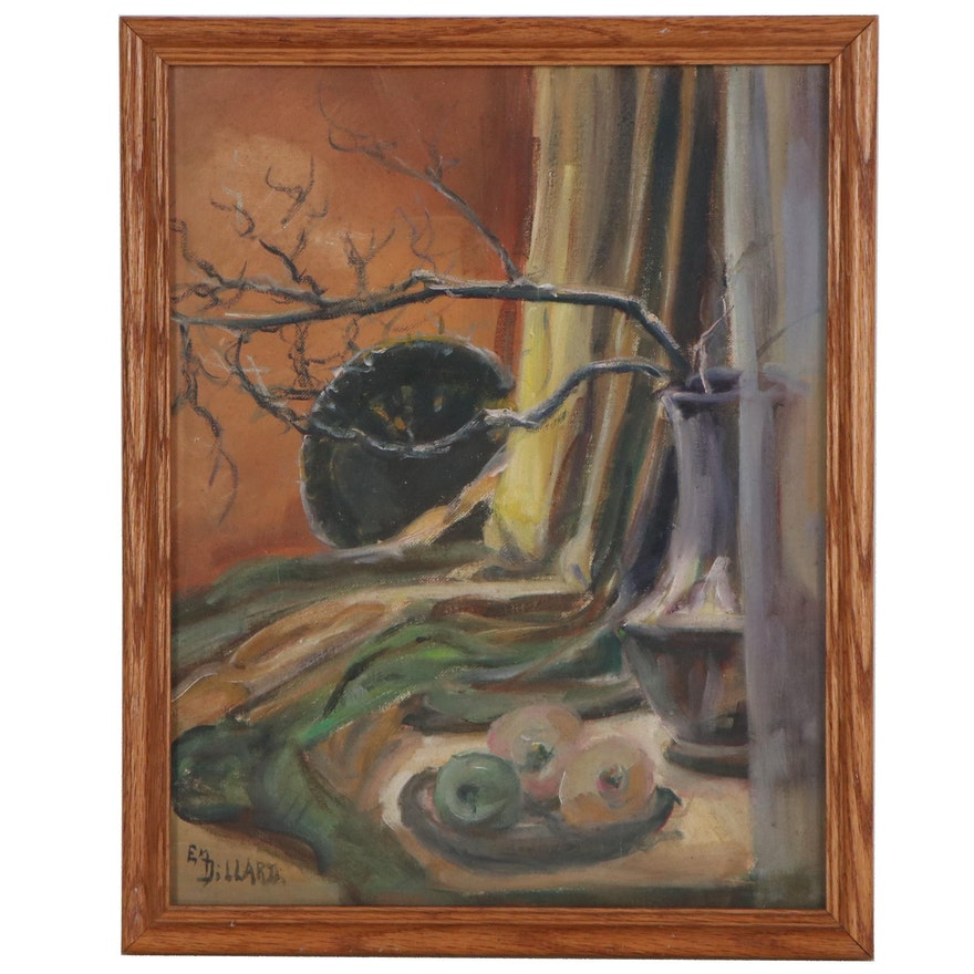 Emily Dillard Still Life Oil Painting of Vase and Fruit, Mid-20th Century