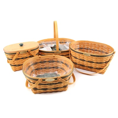 "Longaberger ""Traditions Collection"" Handled Baskets with Liners and Lid"