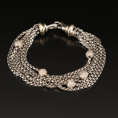 David Yurman Sterling 1.11 CTW Diamond Bracelet with 18K Accents