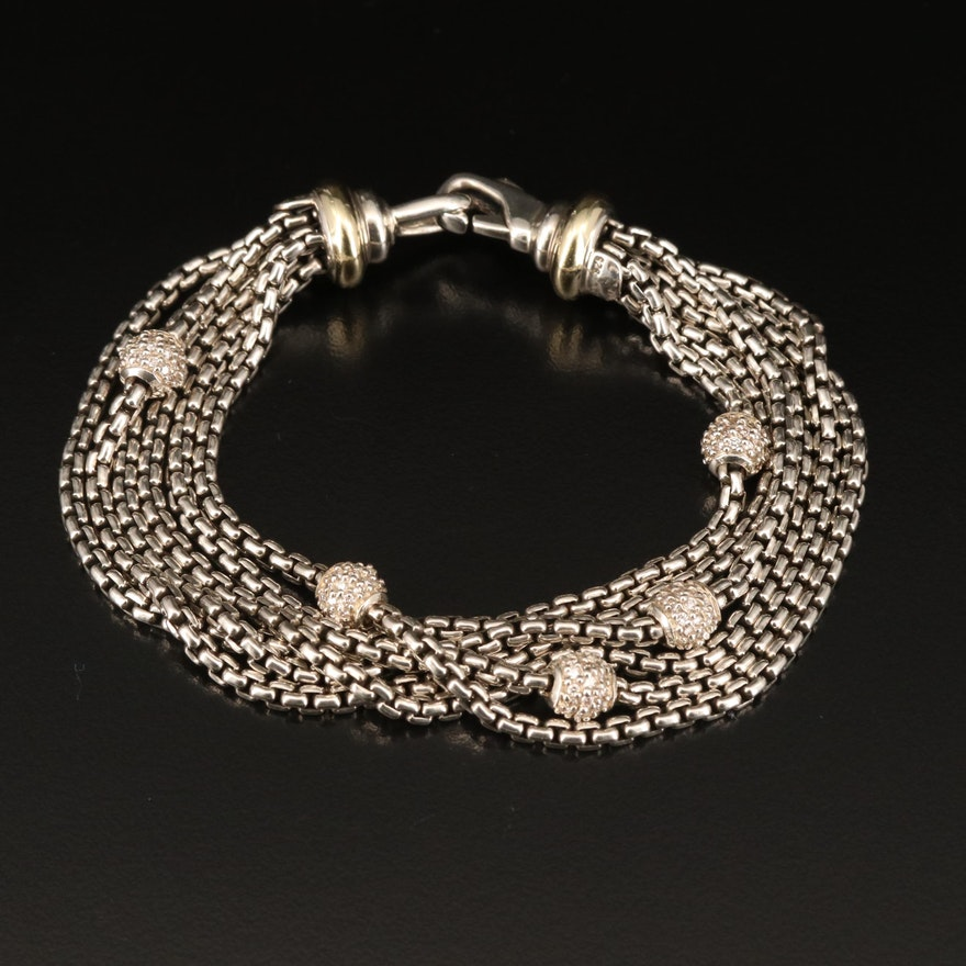 David Yurman Sterling 1.11 CTW Diamond Bracelet with 18K Accents