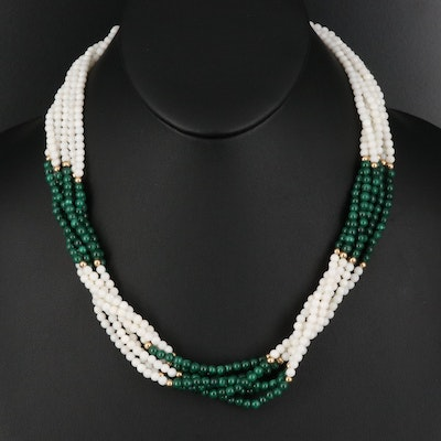 14K Malachite and Agate Torsade