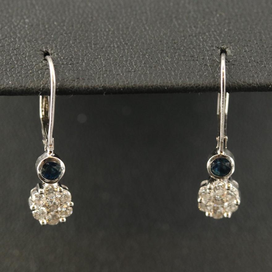 14K Diamond and Sapphire Drop Earrings