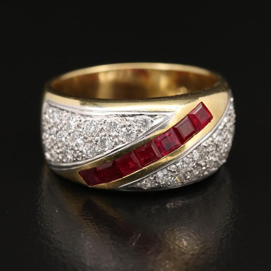 18K Ruby and Pavé Diamond Ring