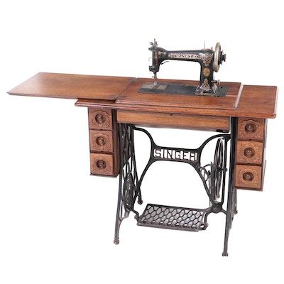 Singer Treadle Sewing Machine with Quartersawn Oak Cabinet, 1909–1913