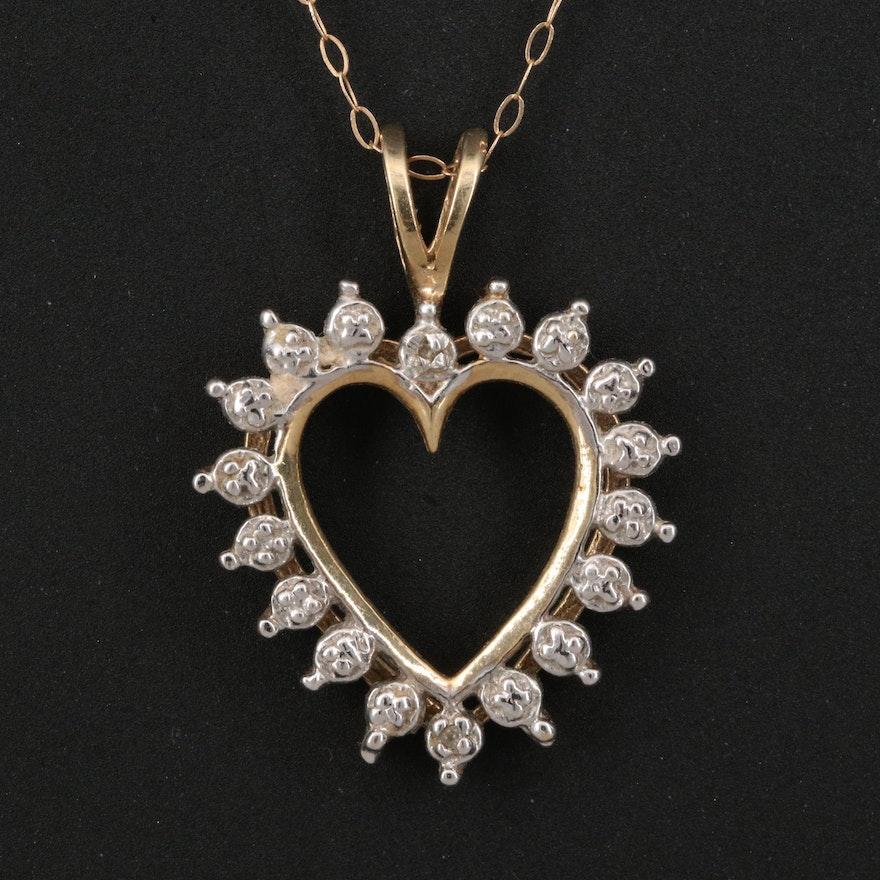 10K Diamond Heart Pendant Necklace