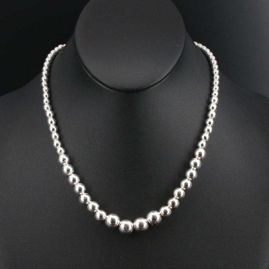 Graduated Sterling Bead Necklace