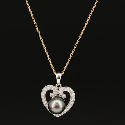 14K Pearl and Diamond Heart Pendant Necklace