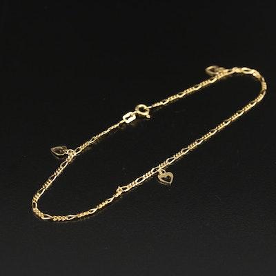 14K Heart Figaro Chain Anklet