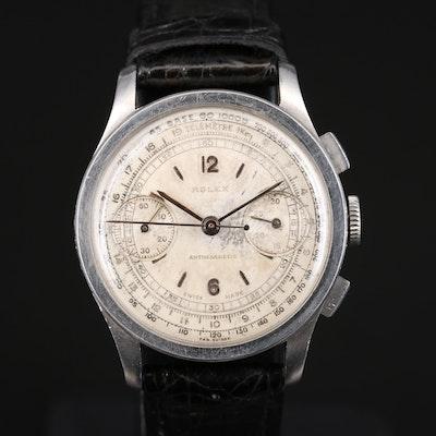 1938 Rolex 2811 Chronograph Stainless Steel Stem Wind Wristwatch