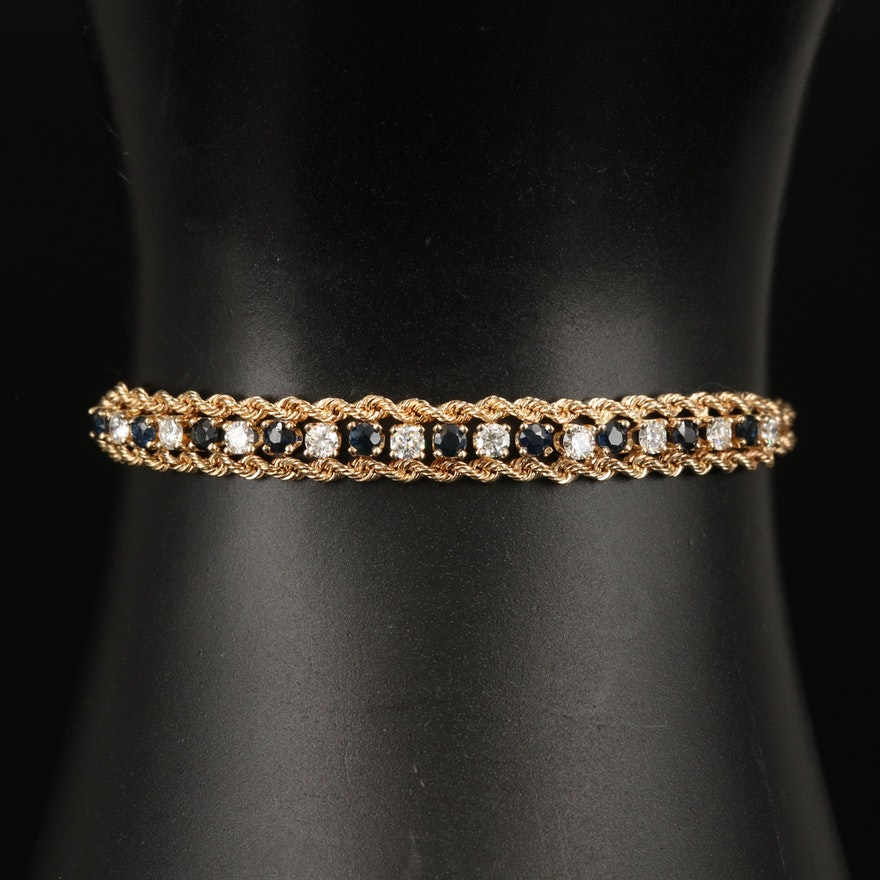 14K Diamond and Sapphire Double Rope Bracelet