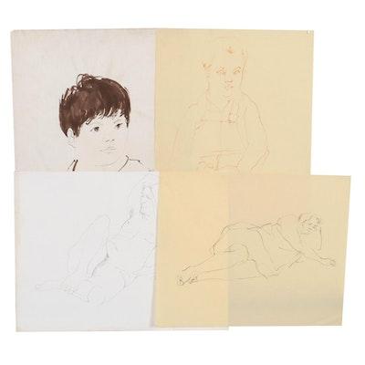 John Tuska Figural Ink Drawings and Portraits, Mid-Late 20th Century
