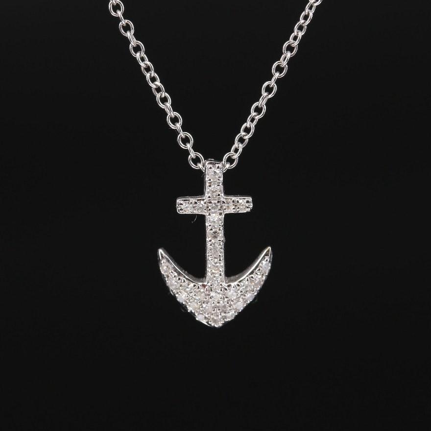 EFFY 14K Diamond Anchor Pendant Necklace