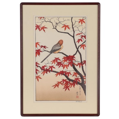 "Yoshida Tōshi Woodblock ""Autumn: Serenity of Red Maple"""